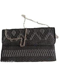 Raagvi Handloom Sling Bag With Chain Black Colour