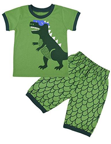 Rebavl Kinder Grün Dinosaurier Weihnachten Langarm Schlafanzug Baumwolle Runder Kragen Xmas Pyjama Sets Größe 92-128 (92, Kurzarm Grün)