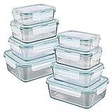 GOURMETmaxx Glas-Frischhaltedosen Klick-it | 8er Set mit Silikon Dichtungsring | Lebensmittelbehälter, auslaufsicher und mikrowellengeeignet [Smaragdgrün, 8 Dosen & 8 Deckel]