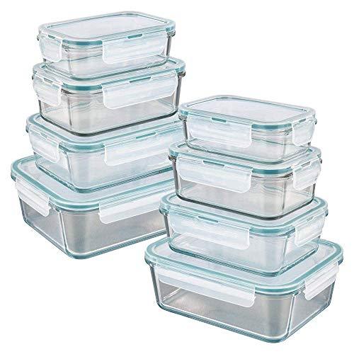 GOURMETmaxx 02847 Glas-Frischhaltedosen | 8er Set klick-It Silikon Dichtungsring | Glasbehälter Smaragdgrün (8 Dosen & 8 Deckel)