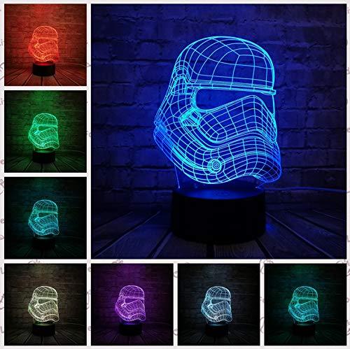 LED 3D Lampe Stormtrooper Ritter Yoda Jedi Krieger Trek Death Star War LED Nachtlicht Multicolor Cartoon Spielzeug