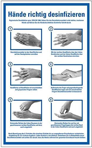 LEMAX Hinweisschild Hände richtig desinfizieren gemäß CEN EN 1500 | Folie selbstklebend 200 x 300 mm | Händedesinfektion