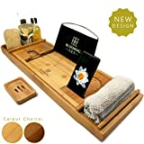 Blooming Lily Luxury Bath Tub Caddy Tray (Natural Colour)