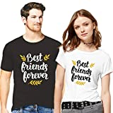 Hangout Hub Couple Tshirts Best Friend Forever Printed Black/White Color Men L Women XXL Valentine Gift Matching Tees for Men Women (Set of 2)