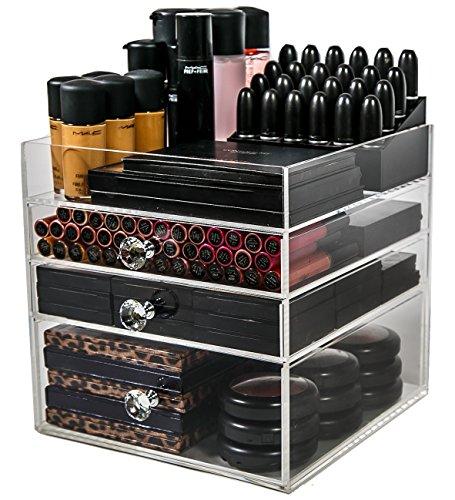 N2 Makeup Co Acryl Makeup Organiser Wuerfel, 3 Grosse Schubladen Aufbewahrung Lagerung Box fuer Schminktische