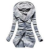 feiXIANG Strickjacke mit Kapuze Streifen Lange top Frauen Streifen Drucken Strickpullover Slim Sweater Outwear -