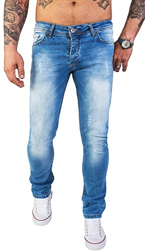 Rock Creek Designer Herren Jeans Hose Stretch Jeanshose Basic Slim Fit [RC-2131 - V.Light Blue - W33 L30]