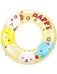 Niños nadando anillo de dibujos animados círculo de cristal de doble gruesa vida boya pvc anillo de natación inflable bajo el anillo de brazo , yellow , 60cm