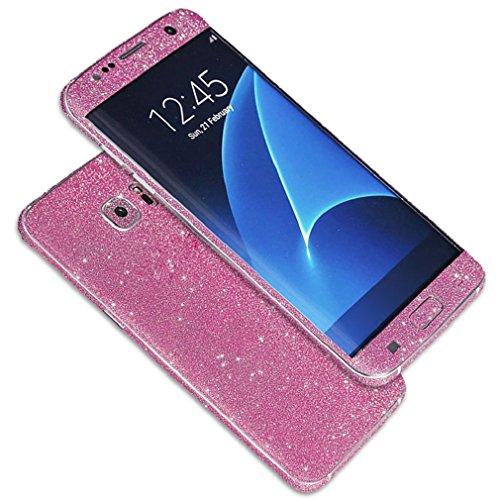 Tonsee Luxus Bling Glitter zurück Film Tasche Schutzhülle Case für Samsung Galaxy S7 edge (hot pink)