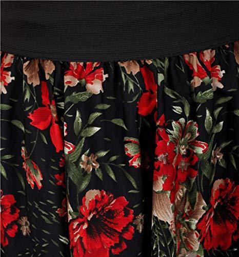 Hiya Women's Crepe Flower Panel Skirt (Red, Medium)