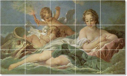 FRANCOIS BOUCHER ANGELES TILE MURAL REMODELACION IDEAS  18X 30CM CON (15) 6X 6AZULEJOS DE CERAMICA