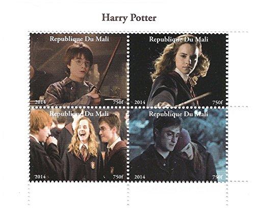 Harry-Potter-Film 2014 Briefmarkenbogen für Sammler mit Harry, Ron und Hermine Granger - 4 Briefmarken/Mali (Harry-potter-briefmarken)