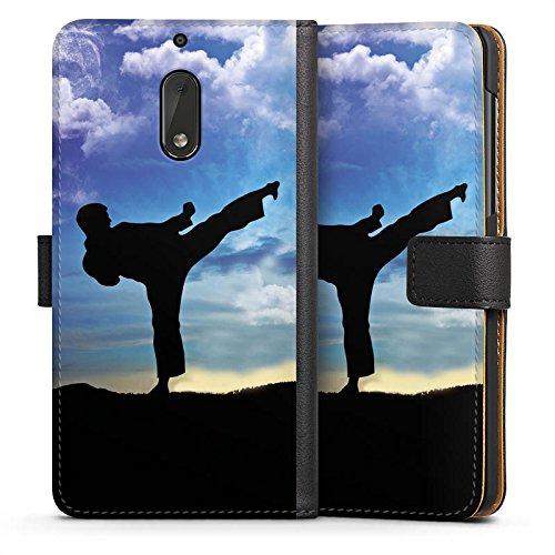 DeinDesign Nokia 6 2017 Tasche Leder Flip Case Hülle Karate Kampfsport Training