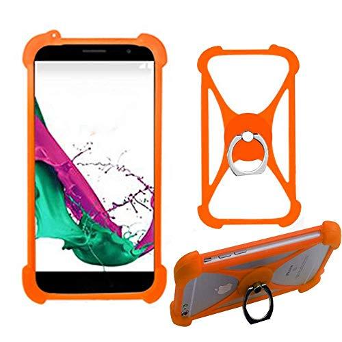 Orange Ring Halter Handytasche für Umi Touch LTE Z2 Z G C Note 2 C2 A3 Pro A1 London eMAX Silikon Schutzhülle Tasche Hülle Cover Case Bumper Elastischem Weiche Etui 360° Finger Griff Stoßstange