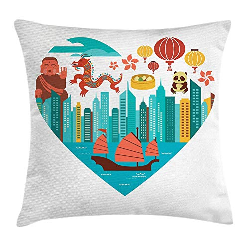 ZTLKFL City Love Throw Pillow Cushion Cover, Hong Kong Skylines Built in Heart Shape Frame Dragon Panda and a Sailing Boat, Decorative Square Accent Pillow Case, 18 X 18 Inches, Multicolor Dragon Silk Coat