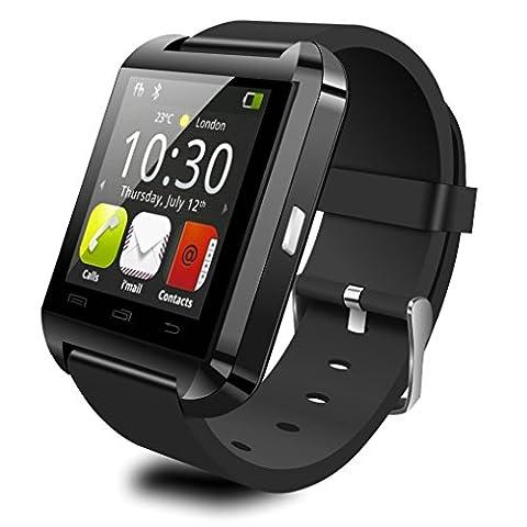 ZIMINGU Montre intelligente Bluetooth Montre intelligente U8 Montre-bracelet avec écran tactile et appareil photo à distance pour iPhone Android Smart Phone Samsung Huawei Xiaomi LG HTC