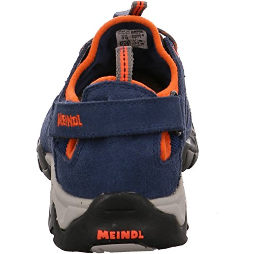 Meindl Rudy Junior 2056-09 Kinder Sandale Buben Velourleder Blau (Blau orange), 36 EU -