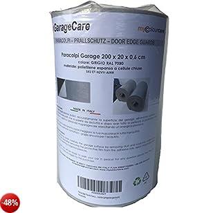 Paracolpi per Pareti Garage e box Auto, 1 x pannello autoadesivo - misura 200 x 20 x 0,6 cm spessore - colore GRIGIO RAL 7030 in Polietilene - protezione fiancata portiera auto, come tampone paraurti
