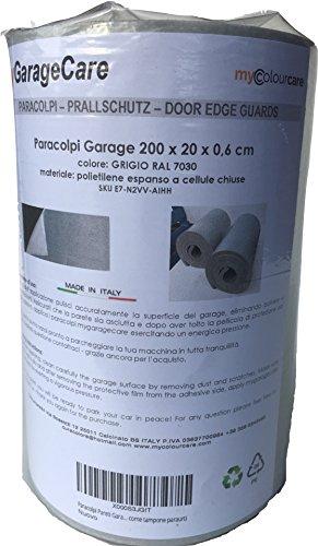 Kantenschutz für Wände Garage und Box Auto, 1 x Selbstklebendes Panel - Größe 200 x 20 x 0,6 cm Dicke - Farbe grau RAL 7030 aus Polyethylen - Schutz Autos Tür Auto, wie Puffer Stoßfänger (Tür Garage Farbe)