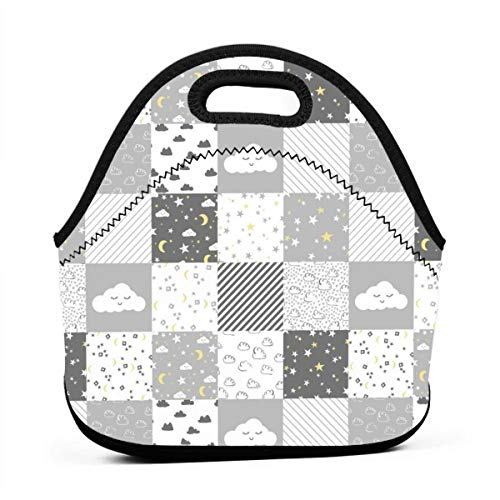 Cloud And Stars Nursery Cheater Cheater Quilt Wholecloth Baby Grey And White Clouds Nursery Cute Lunch Bag for Men Women,Leakproof Insulated Cooler Bag Picnic Boating Beach Fishing Work