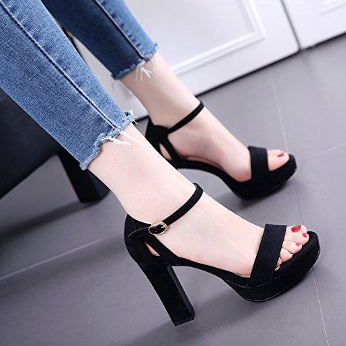 Del tutto-fiammifero Toe sandali femminili grezzi scarpe impermeabili inarcamento di parola Black