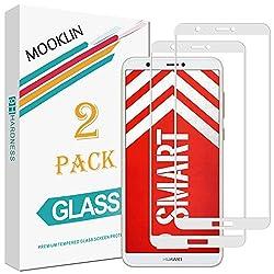 MOOKLIN Huawei P Smart Panzerglas Displayschutzfolie,[2 Stück] [Volle Abdeckung] [Easy Install Kit] [Anti-Kratzen] Vollständige Abdeckung Handy Schutzfolie für Huawei P Smart - Weiß