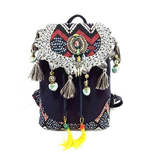 Mochila Para Mujer Estilo Bohemio Hippie Boho Vintage Para Mujer Lienzo Borla Bolsa De Tela De Algodón Bolsa Étnica Bolsas Mochila (Color : Blue, Size : 2)