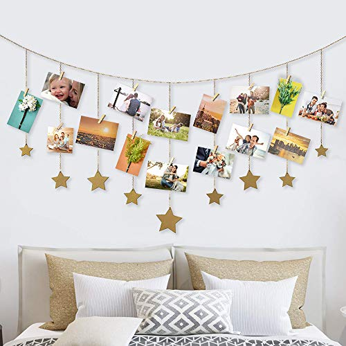 Bicolor Pared Colgar Fotos Pared Madera Estrellas