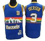 Photo de QIXUN NBA Nuggets Rainbow Edition 3# Maillot All-Star Vintage Allen Iverson, Tissu Respirant et Frais, T-Shirt de Basket-Ball pour Homme en Jersey pour Femmes par QIXUN
