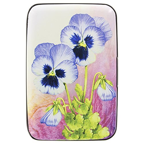 Fig Design Group Pansy Flower RFID Secure Data Theft Protection Credit Card Armored Wallet Floral - Floral Wallet