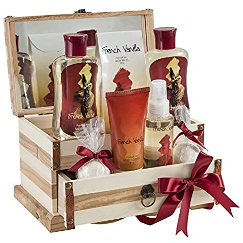Coffret cadeau Vanille - Set de bain parfum vanille et boite à bijoux en bois
