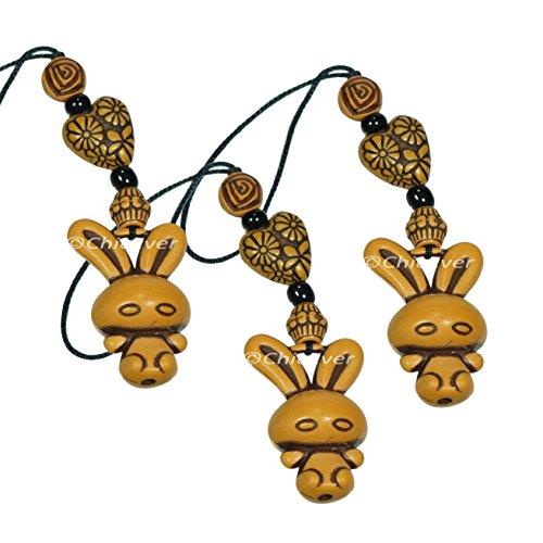3x Glücksbringer Hase aus Harz, Handyanhänger, Taschenanhänger, Schlüsselanhänger, 7315