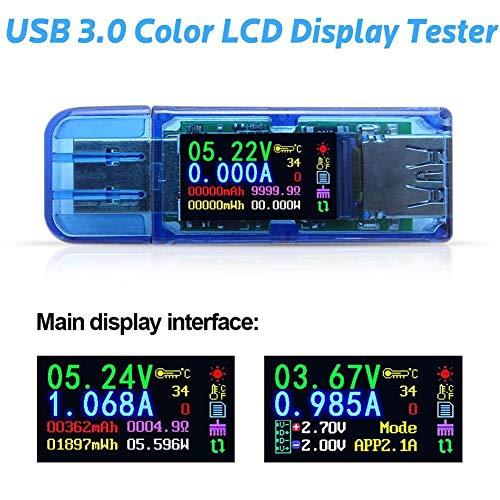 USB-Voltmeter Batteriespannung Leistung Kapazität Tester Farb-LCD-Display Tester Multimeter Meter Voltmeter - 4-stellige Messgenauigkeit Free Size blau