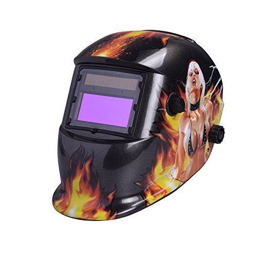 nuzamas solarbetrieben Schweißschutzschild Maske Schweißen Face Schutz für Arc Tig Mig Schleifen Plasma Schneiden mit verstellbarem Shade-Reihe DIN4/9-13UV/IV Schutz DIN16Girl On Fire