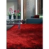 benuta Alfombra Shaggy pelo largo Whisper Rojo 160x230 cm - libre de contaminación - 100% Poliéster - Monocolor - Handtufted - Cuarto de estar