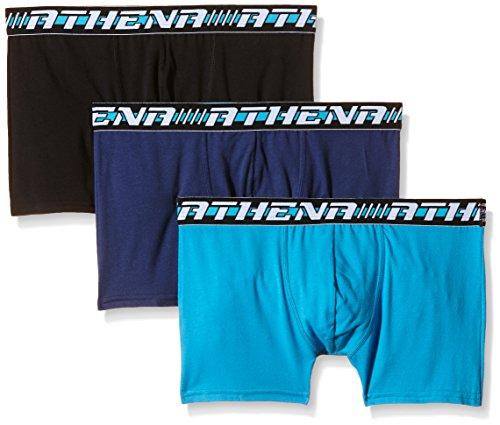 Athena Herren Boxershorts Easy Sport Boxer Mehrfarbig - Multicolore (Noir/Turquoise/Nuit)