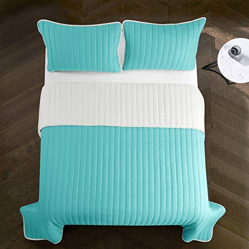 Pop Shop Rita Solid Reversible Lightweight Quilt Set, Twin, Aqua