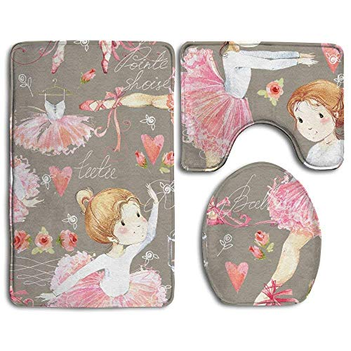 sexy world Ballerina Seamless Pattern with Cute Girl Bathroom Rug 3 Piece Bath Mat Set Contour Rug and Lid Cover