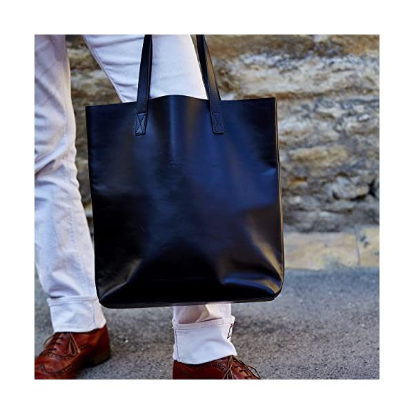 Black Leather Tote - handmade-bags