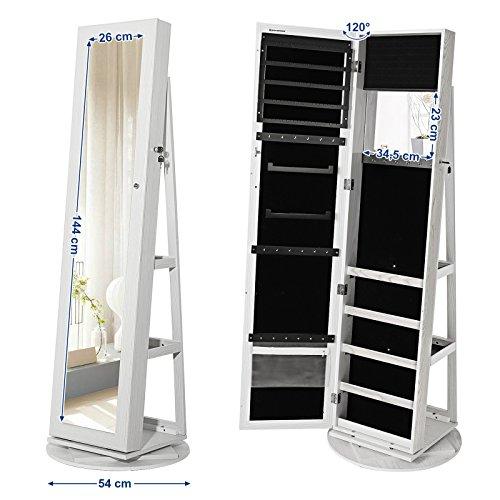 Songmics Schmuckschrank mit 160 cm hohem Spiegel abschließbar um 360° drehbar mit Leiterregal JBC62W - 7