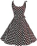 bbonlinedress 1950er Vintage Polka Dots Pinup Retro Rockabilly Kleid Cocktailkleider Brown White Big Dot S