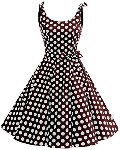Vintage Polka Dots Pinup Retro Rockabilly Kleid Cocktailkleider Brown White Big Dot 2XL ()