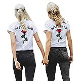 Brief Impression Chemisier   luckycat dernière été Femmes Meilleur ami lettres col rond manches courtes Rose Imprimé T Shirts Casual Blouse Tops Sport Outdoor Casual Multi-Taille S à 5X L, XXXXXL(AsianXXXXXL=EUXXXXL), Rot, 1