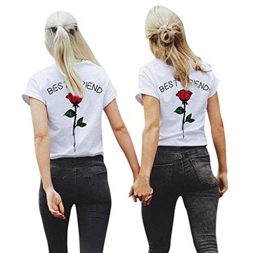 faab95bf1b25fc Brief Impression Chemisier ❤ luckycat dernière été Femmes Meilleur ami  lettres col rond manches courtes Rose