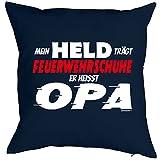 Opa/Kinder/Deko-Kissen inkl. Spaß-Urkunde Thema lustige Sprüche: Mein Held trägt Feuerwehrschuhe Er heisst Opa Test