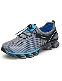 KuBua Mens Womens Womens Casual Breathable Mesh Slip-On Sport Walking Running Performance Shoes Trainers Brown Blue Grey Pink 35-47