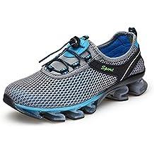 KuBua Zapatillas Hombre Mujer Malla Zapatos para Correr Zapatillas de Deporte Deportivas Casuales Running Padel Marrón Azul Gris Rosa 35-47