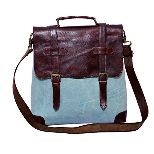 Craft Play Handicraft Blue and Brown Color Canvas Laptop Bag/Travel Bag