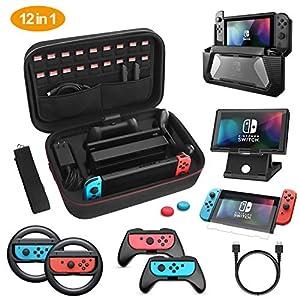 HEYSTOP Tasche für Nintendo Switch, 11 in 1 Zubehör für Nintendo Switch Hülle