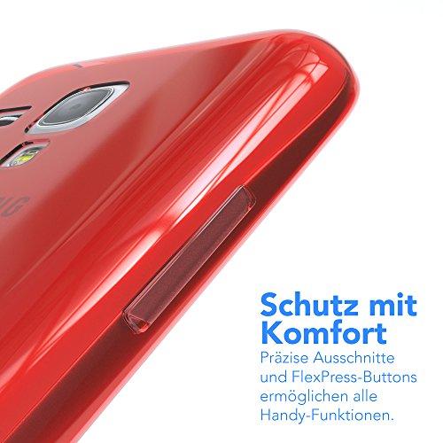 Samsung Galaxy S3 Mini Hülle - EAZY CASE Ultra Slim TPU Handyhülle - dünne Schutzhülle in Hellblau Clear Rot